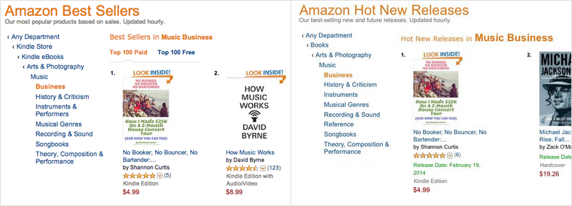 house concert book on Amazon Best Sellers lists